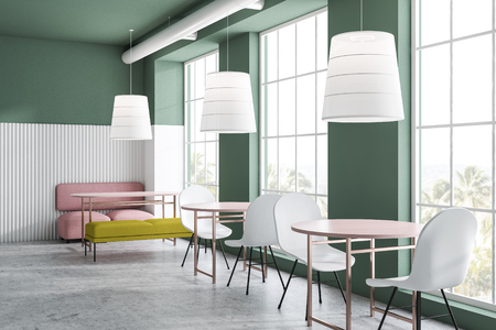 Bright green and white family restaurant interior with pink sofa, yellow bench and white chairs standing near pink oblong and round tables. 3d rendering