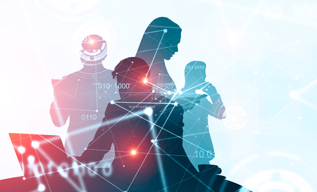 Silhouettes of business people working together over blurred background with double exposure of network interface and hud. Concept of hi tech startup. Toned image