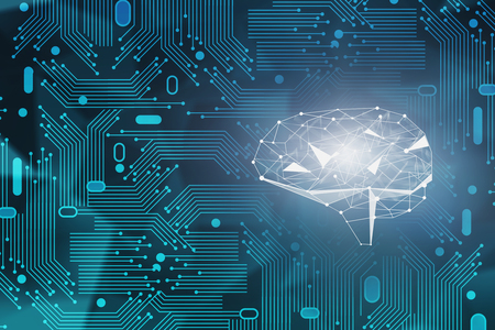 Abstract green background with circuits and glowing brain hologram. Concept of artificial intelligence and hi tech. Big data and information in business. 3d rendering toned image