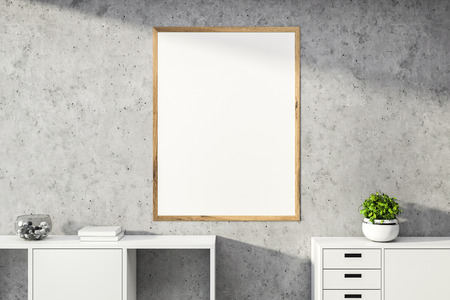Blank mock up poster with wooden frame hanging on stone wall in room with white bookcase and cabinet. Concept of advertising. 3d rendering