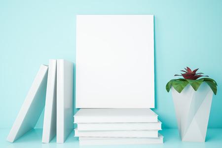 Vertical mock up poster frame standing on books near house plant on light blue bookshelf. Concept of advertising and marketing. 3d rendering