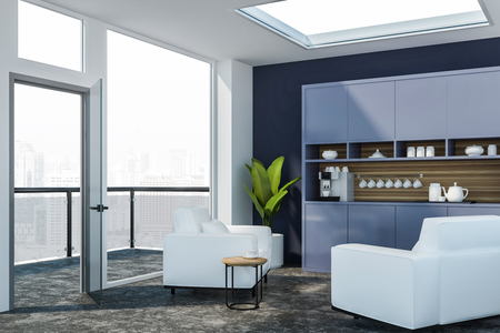 Corner of office waiting room with blue walls, white armchairs standing near coffee table and blue cupboard with coffee machine and cups. 3d rendering Banco de Imagens