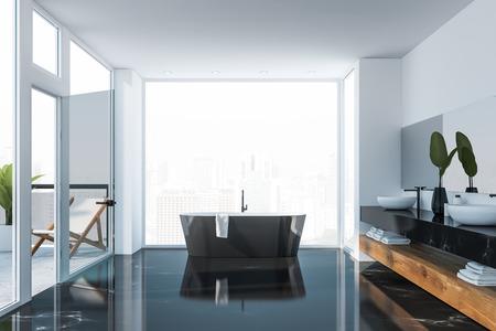 Interno del bagno di lusso con pavimento in marmo nero, vasca da bagno nera vicino a una grande finestra e doppio lavabo in piedi su un piano di lavoro in marmo nero. Balcone a sinistra. rendering 3d
