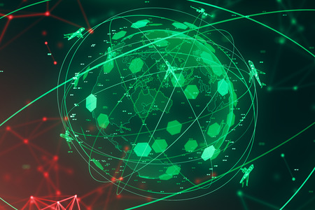 Green planet hologram with planes flying around it and coordinates. Concept of globalization, transportation and modern technology. 3d rendering