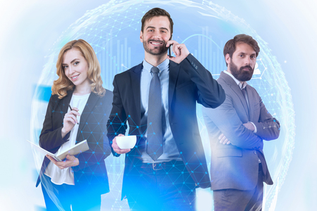 Smiling ginger businesswoman with copybook, confident businessman with crossed arms and cheerful manager on phone over digital world hologram. Hi tech concept. Toned image double exposure