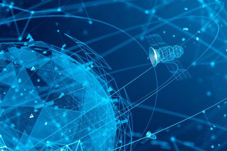 Abstrait bleu réseau numérique avec planète et satellites. Concept de GPS et salut tech. Les télécommunications dans le monde moderne. rendu 3D