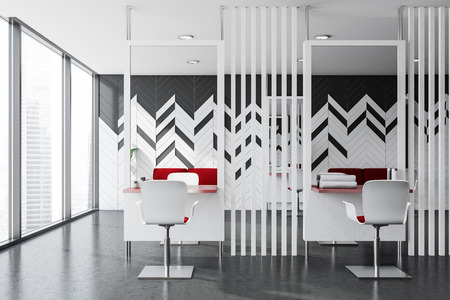Interior of panoramic hairdressing salon with white and gray walls, concrete floor, red tables and chairs and large mirrors. Concept of healthcare and fashion. 3d rendering