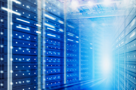 Abstract futuristic background with server room interior. Concept of hi tech, big data and cloud computing in business. 3d rendering toned image double exposure
