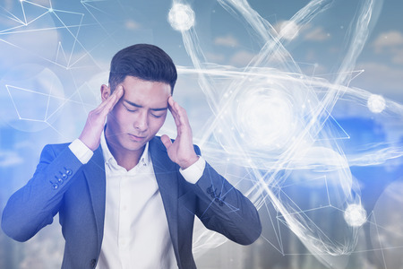 Portrait of young stressed Asian scientist over blurred city background with atom hologram. Concept of tiresome scientific research. Toned image double exposure