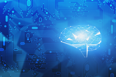 Abstract blue background with circuits and glowing brain hologram. Concept of artificial intelligence and hi tech. Big data and information in business. 3d rendering toned image Imagens