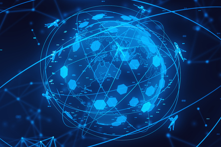 Blue planet hologram with planes flying around it and coordinates. Concept of globalization, transportation and modern technology. 3d rendering Imagens