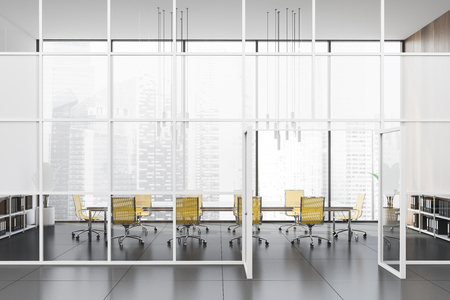 Modern office hall with white, wooden and glass walls, tiled floor and conference room with long glass table and yellow chairs. Concept of discussion. 3d rendering