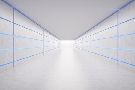 Empty corridor with white walls and floor and glowing dark blue neon lights. Concept of interior design and success. 3d rendering