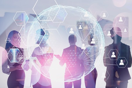 Business people in city. Planet hologram and social connection icons. Telecommunication concept. Toned image double exposure. Elements of this image furnished by NASA Imagens