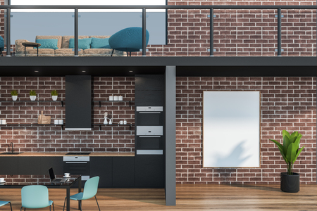 Office waiting room interior with brick walls, beige sofa and blue armchair and comfortable kitchen for staff with gray counters and glass table with chairs. Vertical mock up poster. 3d rendering
