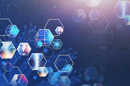 Abstrait avec écran virtuel et images d'entreprise. Concept de haute technologie dans les entreprises et les mégadonnées. Image tonique double exposition. Éléments de cette image fournis par la NASA