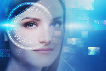 Face of beautiful young woman with HUD interface and virtual screens. Concept of artificial intelligence and deep learning. Toned image double exposure