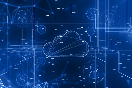 Abstract background with cloud computer and social network interface. Concept of hiring and recruitment. 3d rendering double exposure