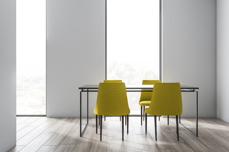 Loft dining room interior with white walls, wooden floor, gray table with yellow chairs and windows with tropical view. 3d rendering