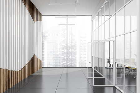 Empty interior of business center lobby with white and wooden walls, tiled floor and open doors with office behind them. 3d rendering