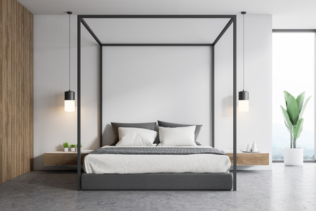 Interior of stylish bedroom with white and wooden walls, concrete floor, window with plant near it and gray master bed with bedside tables. 3d rendering 版權商用圖片