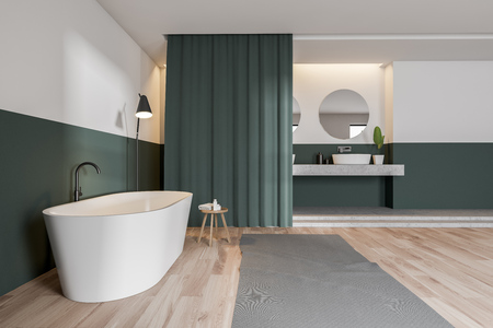 Side view of modern bathroom with green and white walls, wooden floor, white bathtub, double sink and curtains. 3d rendering Фото со стока