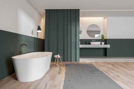 Vue latérale d'une salle de bain moderne avec murs verts et blancs, parquet, baignoire blanche, double vasque et rideaux. rendu 3D Banque d'images
