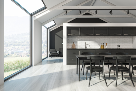 Interior of Scandinavian kitchen with white walls, white wooden floor, black countertops, black wooden table with chairs and armchair in the background. 3d rendering