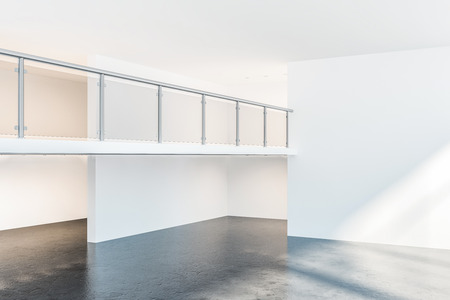 Interior of empty office hall with white walls, concrete floor and two storeys. Concept of real estate and architecture. 3d rendering mock up