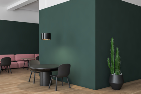 Corner of white and green cafe with wooden floor, round tables with gray chairs and wooden tables near pink sofas. Stylish ceiling lamps. 3d rendering Stock Photo