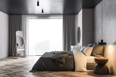 Side view of panoramic bedroom with white and concrete walls, wooden floor, gray master bed with makeup table and vertical mirror on the floor. 3d rendering