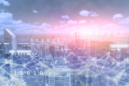 Modern cityscape with network hologram and binary numbers. Concept of smart city. 3d rendering toned image double exposure Banco de Imagens