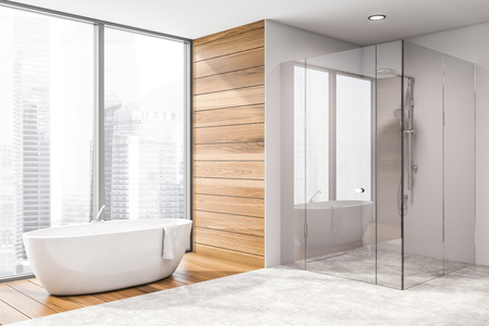 Corner of stylish bathroom with white walls, wooden and tiled floor, panoramic window, comfortable bathtub and shower stall with glass doors. 3d rendering Stok Fotoğraf - 124678509