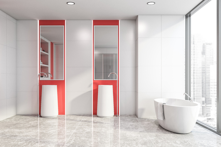 Interior of stylish bright bathroom with white and red walls, tiled floor, white bathtub standing near panoramic window and double sink with mirrors above it. 3d rendering Stock Photo