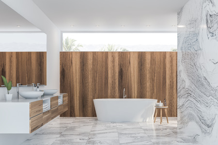 Interior of modern bathroom with white, white marble and light wooden walls, tiled floor, double sink with large mirror above it and white bathtub. 3d rendering