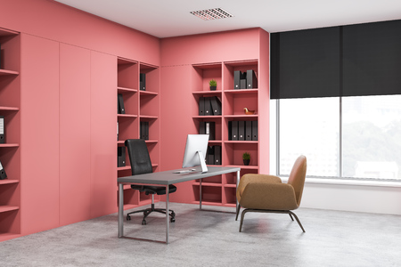 Corner of CEO office with concrete floor, gray computer table with armchair for visitors and pink bookcases with folders. 3d rendering