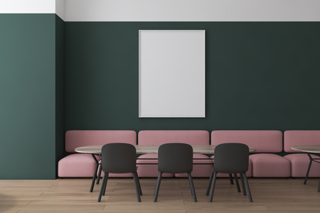 Interior of modern restaurant with green and white walls, wooden floor, pink sofas and gray chairs standing near wooden tables and mock up poster on wall. 3d rendering