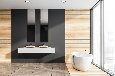 Side view of panoramic bathroom with gray and wooden walls, tiled floor, double sink on white countertop and comfortable white bathtub. 3d rendering