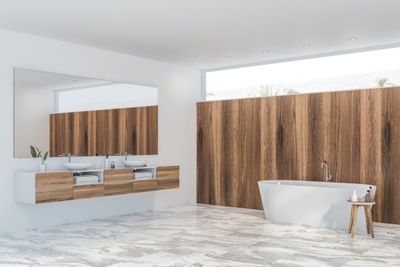 Corner of modern bathroom with white and light wooden walls, tiled floor, double sink with large mirror above it and white bathtub. 3d rendering