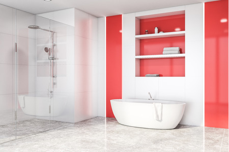 Corner of bright bathroom with white tile and red walls, concrete floor, comfortable white bathtub and shelves above it. Shower stall with glass doors. 3d rendering Stok Fotoğraf - 124683326