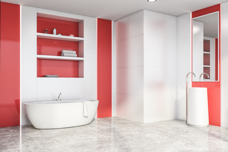 Corner of stylish bright bathroom with white and red walls, concrete floor, white bathtub with shelves above it and white sink with mirror. 3d rendering Stock Photo