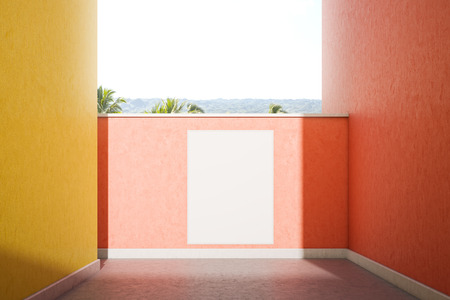 Mock up poster hanging on pastel color pink wall on sunny day. Pink and yellow street walls with tropical view. Concept of advertising and marketing. 3d rendering