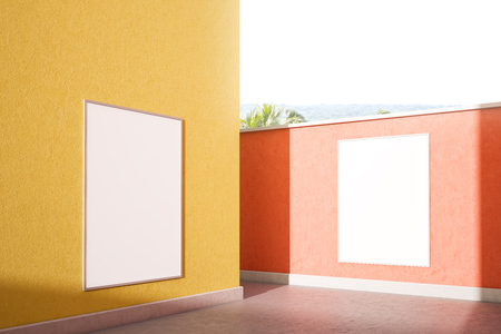 Mock up posters hanging on pastel color pink and yellow walls on sunny day. Pink and yellow street walls with tropical view. Concept of advertising and marketing. 3d rendering