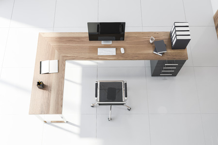 Top view of CEO office with tiled floor, wooden computer table with folders and open book with blank pages. 3d rendering