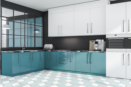 Corner of stylish kitchen with gray walls, tiled floor, blue countertops, white cupboards and two ovens. 3d rendering Stock Photo