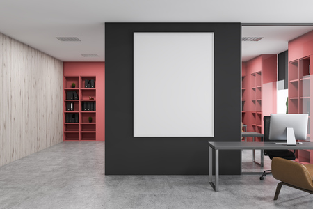 Interior of CEO office with gray and wooden walls, concrete floor, gray computer desk with armchair, pink bookcases with folders and vertical mock up poster. 3d rendering