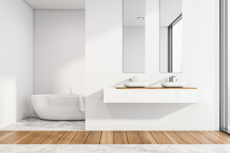 Interior of modern bathroom with white walls, wooden and concrete floor, double sink with two mirrors above it and comfortable white bathtub. 3d rendering
