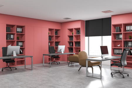 Corner of open space office with white and pink walls, concrete floor, gray computer tables with armchairs for visitors and pink bookcases with folders. 3d rendering