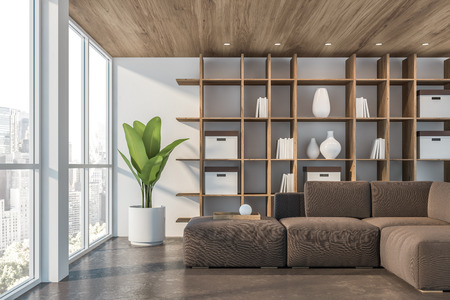 Interior of minimalistic living room with white walls, concrete floor, wooden ceiling, brown sofa and wooden bookcase. Potted plant. 3d rendering