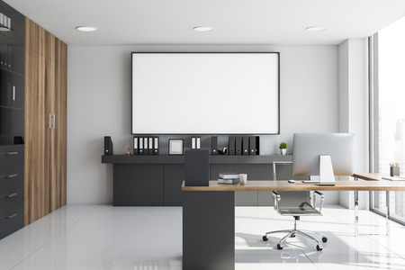 Interior of CEO office with white walls, tiled floor, gray and wooden computer table, gray shelf with folders and large horizontal mock up poster above it. 3d rendering Imagens